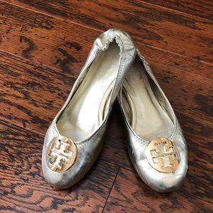 Tory Burch Reva Silver Metallic Ballet Flats